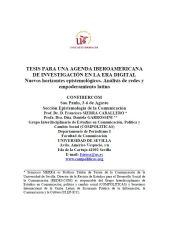 francisco sierra, ciespal, comunicacion, tesis, agenda, investigacion, digital