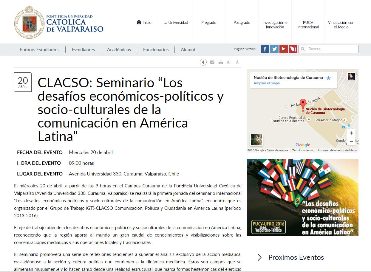 2016-04-20 CPontificiaUniversidadCatolicaDeValparaiso
