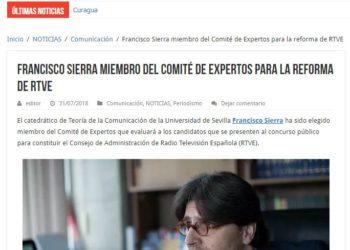Francisco Sierra miembro del Comité de Expertos para la reforma de RTVE